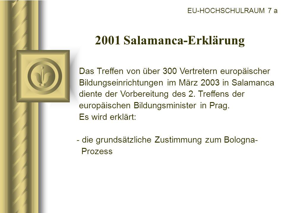 EU-HOCHSCHULRAUM 7 a 2001 Salamanca-Erklärung Das Treffen von über 300 Vertretern europäischer Bildungseinrichtungen im März 2003 in Salamanca diente