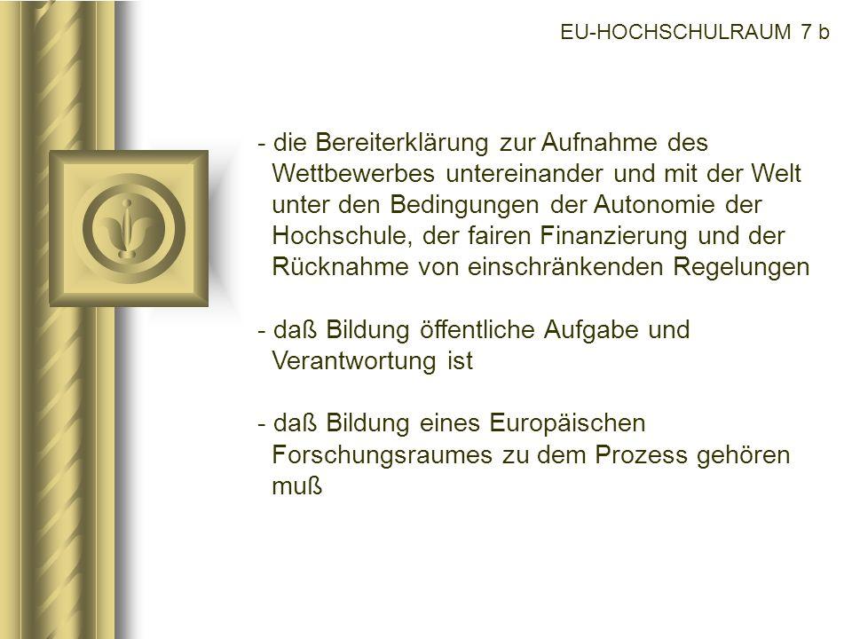 EU-HOCHSCHULRAUM 7 b - die Bereiterklärung zur Aufnahme des Wettbewerbes untereinander und mit der Welt unter den Bedingungen der Autonomie der Hochsc