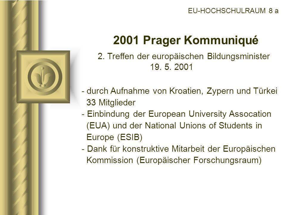 EU-HOCHSCHULRAUM 8 a 2001 Prager Kommuniqué 2. Treffen der europäischen Bildungsminister 19. 5. 2001 - durch Aufnahme von Kroatien, Zypern und Türkei