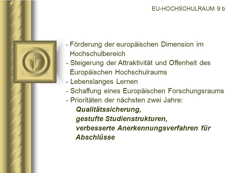 EU-HOCHSCHULRAUM 9 b - Förderung der europäischen Dimension im Hochschulbereich - Steigerung der Attraktivität und Offenheit des Europäischen Hochschu