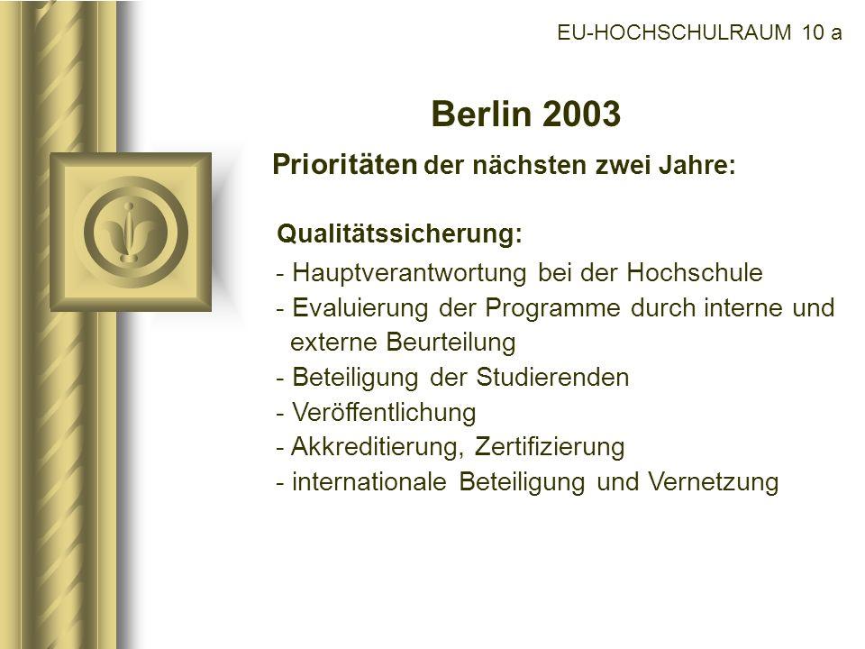 EU-HOCHSCHULRAUM 10 a Berlin 2003 Prioritäten der nächsten zwei Jahre: Qualitätssicherung: - Hauptverantwortung bei der Hochschule - Evaluierung der P