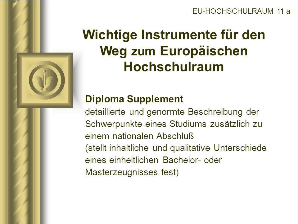 EU-HOCHSCHULRAUM 11 a Wichtige Instrumente für den Weg zum Europäischen Hochschulraum Diploma Supplement detaillierte und genormte Beschreibung der Sc