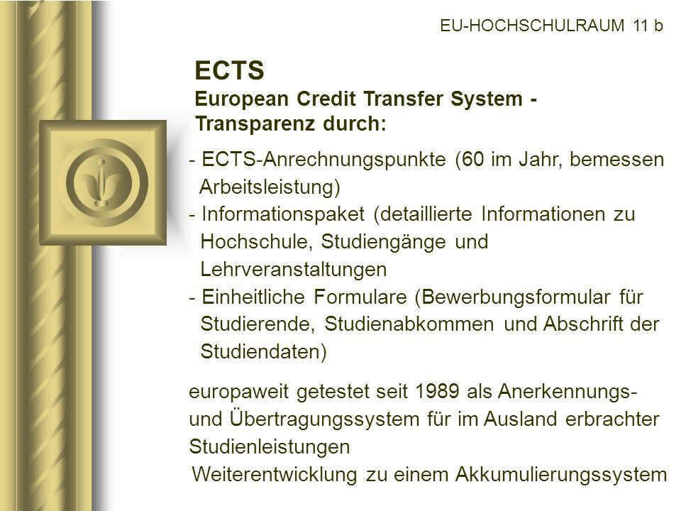 EU-HOCHSCHULRAUM 11 b ECTS European Credit Transfer System - Transparenz durch: - ECTS-Anrechnungspunkte (60 im Jahr, bemessen Arbeitsleistung) - Info