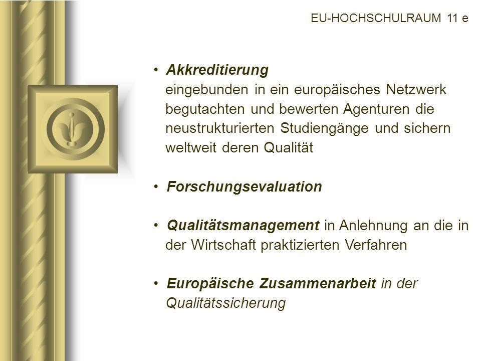 EU-HOCHSCHULRAUM 11 e Akkreditierung eingebunden in ein europäisches Netzwerk begutachten und bewerten Agenturen die neustrukturierten Studiengänge un