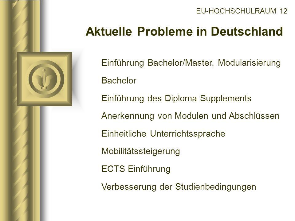 EU-HOCHSCHULRAUM 12 Aktuelle Probleme in Deutschland Einführung Bachelor/Master, Modularisierung Bachelor Einführung des Diploma Supplements Anerkennu