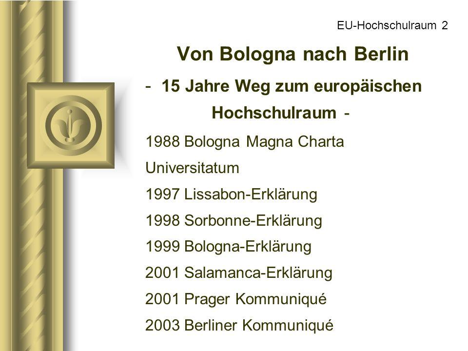 EU-Hochschulraum 2 Von Bologna nach Berlin - 15 Jahre Weg zum europäischen Hochschulraum - 1988 Bologna Magna Charta Universitatum 1997 Lissabon-Erklä