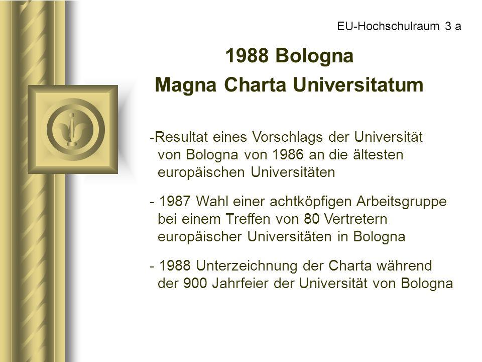 EU-Hochschulraum 3 a 1988 Bologna Magna Charta Universitatum -Resultat eines Vorschlags der Universität von Bologna von 1986 an die ältesten europäisc