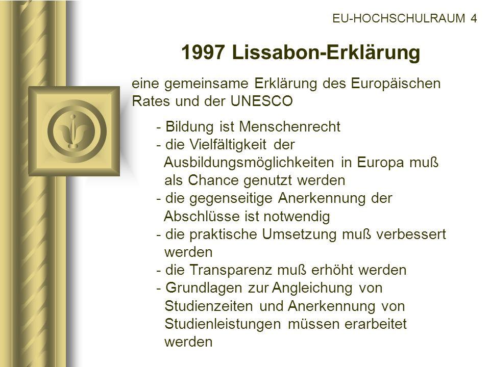 EU-HOCHSCHULRAUM 4 1997 Lissabon-Erklärung eine gemeinsame Erklärung des Europäischen Rates und der UNESCO - Bildung ist Menschenrecht - die Vielfälti