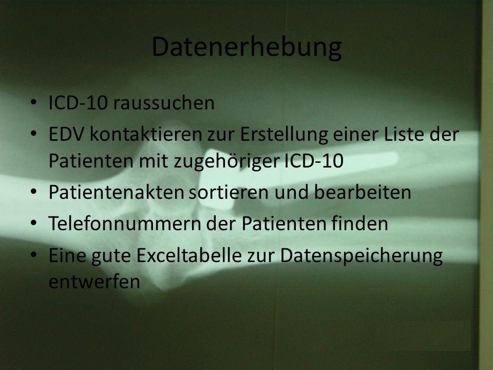 Datenerhebung ICD-10 raussuchen EDV kontaktieren zur Erstellung einer Liste der Patienten mit zugehöriger ICD-10 Patientenakten sortieren und bearbeit