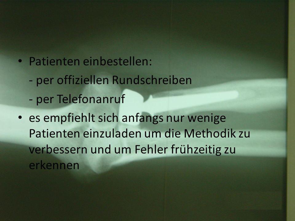 Die Nachuntersuchung Grundlagen: - Inspektion: Besteht eine Schwellung (diffus oder lokal).