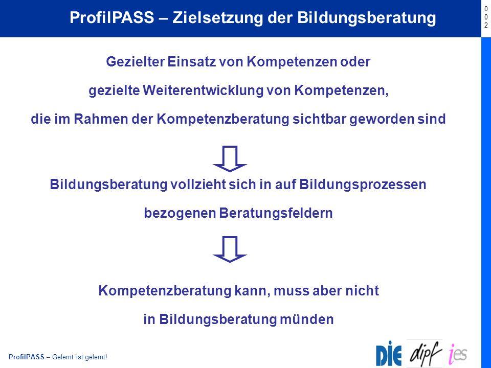 ProfilPASS – Gelernt ist gelernt! Start ProfilPASS – Zielsetzung der Bildungsberatung Gezielter Einsatz von Kompetenzen oder gezielte Weiterentwicklun