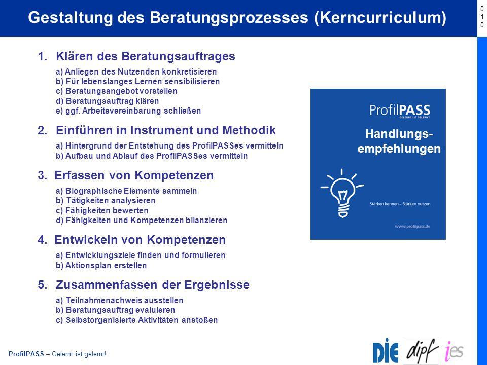 ProfilPASS – Gelernt ist gelernt! Start Gestaltung des Beratungsprozesses (Kerncurriculum) 1.Klären des Beratungsauftrages a) Anliegen des Nutzenden k