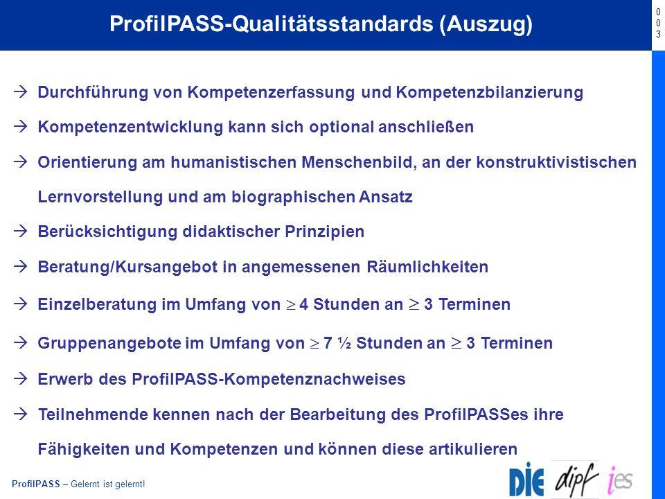 ProfilPASS – Gelernt ist gelernt! Start ProfilPASS-Qualitätsstandards (Auszug) 003003 Durchführung von Kompetenzerfassung und Kompetenzbilanzierung Ko