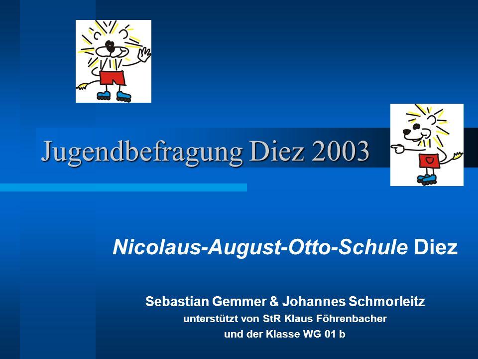 Jugendbefragung Diez 2003 Nicolaus-August-Otto-Schule Diez Sebastian Gemmer & Johannes Schmorleitz unterstützt von StR Klaus Föhrenbacher und der Klasse WG 01 b