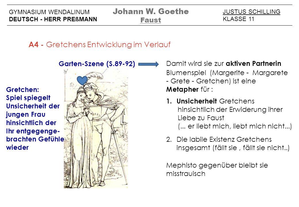 JUSTUS SCHILLING KLASSE 11 GYMNASIUM WENDALINUM DEUTSCH - HERR PREßMANN Johann W. Goethe Faust A4 - Gretchens Entwicklung im Verlauf Garten-Szene (S.8