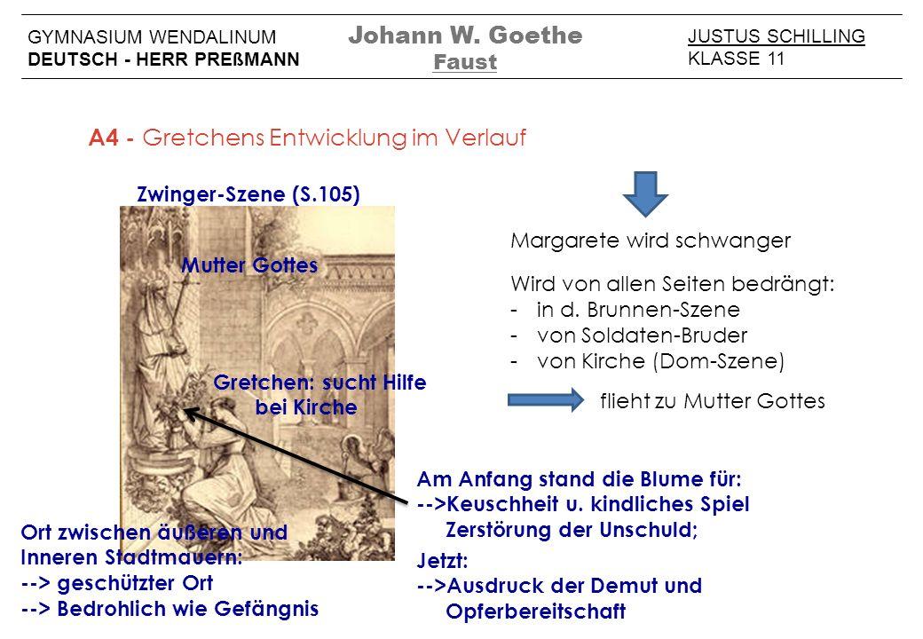 JUSTUS SCHILLING KLASSE 11 GYMNASIUM WENDALINUM DEUTSCH - HERR PREßMANN Johann W. Goethe Faust A4 - Gretchens Entwicklung im Verlauf Zwinger-Szene (S.