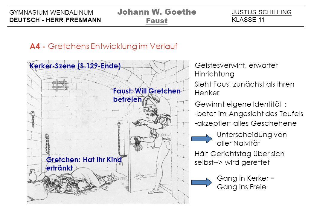 JUSTUS SCHILLING KLASSE 11 GYMNASIUM WENDALINUM DEUTSCH - HERR PREßMANN Johann W. Goethe Faust A4 - Gretchens Entwicklung im Verlauf Kerker-Szene (S.1