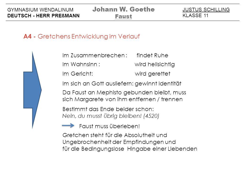 JUSTUS SCHILLING KLASSE 11 GYMNASIUM WENDALINUM DEUTSCH - HERR PREßMANN Johann W. Goethe Faust A4 - Gretchens Entwicklung im Verlauf Im Zusammenbreche