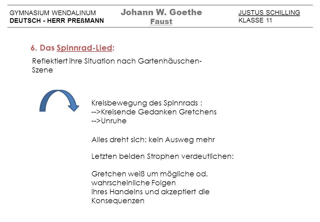 JUSTUS SCHILLING KLASSE 11 GYMNASIUM WENDALINUM DEUTSCH - HERR PREßMANN Johann W. Goethe Faust 6. Das Spinnrad-Lied: Reflektiert ihre Situation nach G
