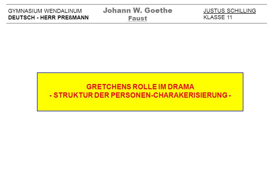 GRETCHENS ROLLE IM DRAMA - STRUKTUR DER PERSONEN-CHARAKERISIERUNG - JUSTUS SCHILLING KLASSE 11 GYMNASIUM WENDALINUM DEUTSCH - HERR PREßMANN Johann W.