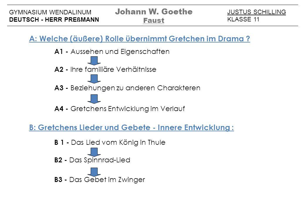 Johann W. Goethe Faust JUSTUS SCHILLING KLASSE 11 GYMNASIUM WENDALINUM DEUTSCH - HERR PREßMANN A: Welche (äußere) Rolle übernimmt Gretchen im Drama ?