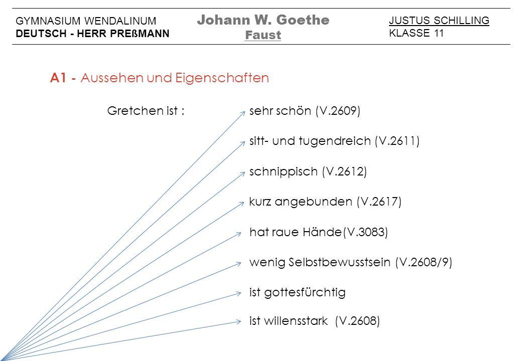 JUSTUS SCHILLING KLASSE 11 GYMNASIUM WENDALINUM DEUTSCH - HERR PREßMANN Johann W. Goethe Faust sehr schön (V.2609) sitt- und tugendreich (V.2611) schn