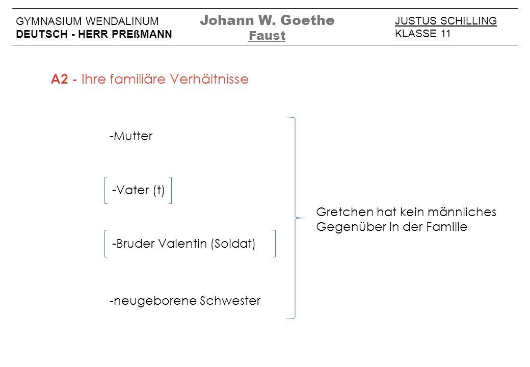 JUSTUS SCHILLING KLASSE 11 GYMNASIUM WENDALINUM DEUTSCH - HERR PREßMANN -Mutter -Bruder Valentin (Soldat) -Vater (t) Johann W. Goethe Faust -neugebore