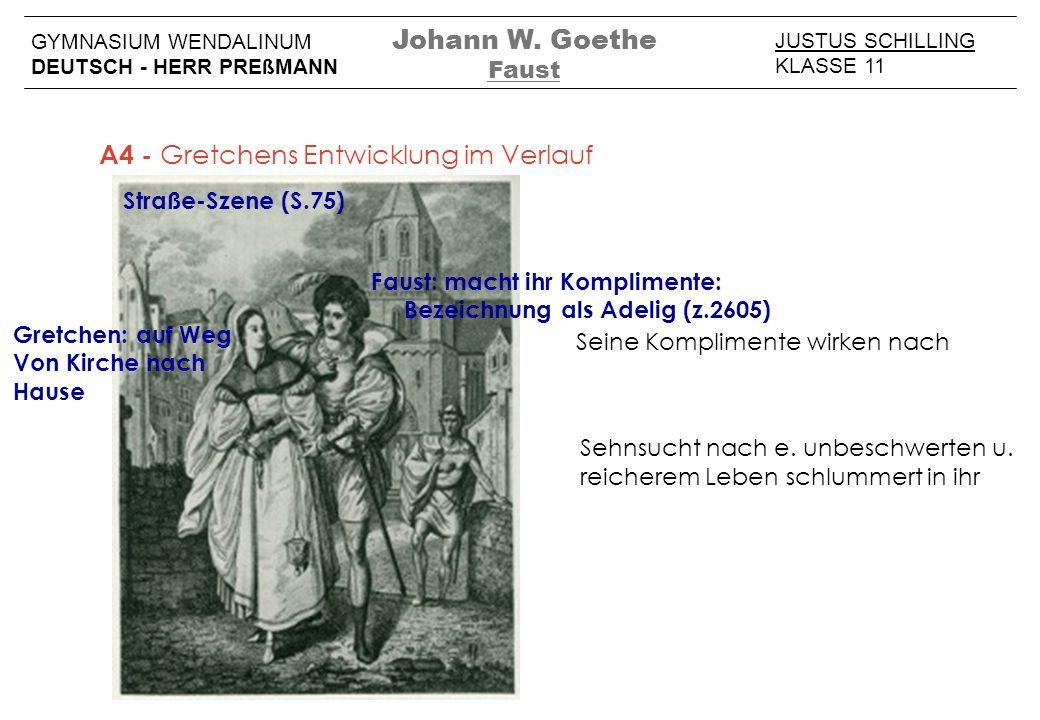 JUSTUS SCHILLING KLASSE 11 GYMNASIUM WENDALINUM DEUTSCH - HERR PREßMANN Johann W. Goethe Faust A4 - Gretchens Entwicklung im Verlauf Straße-Szene (S.7