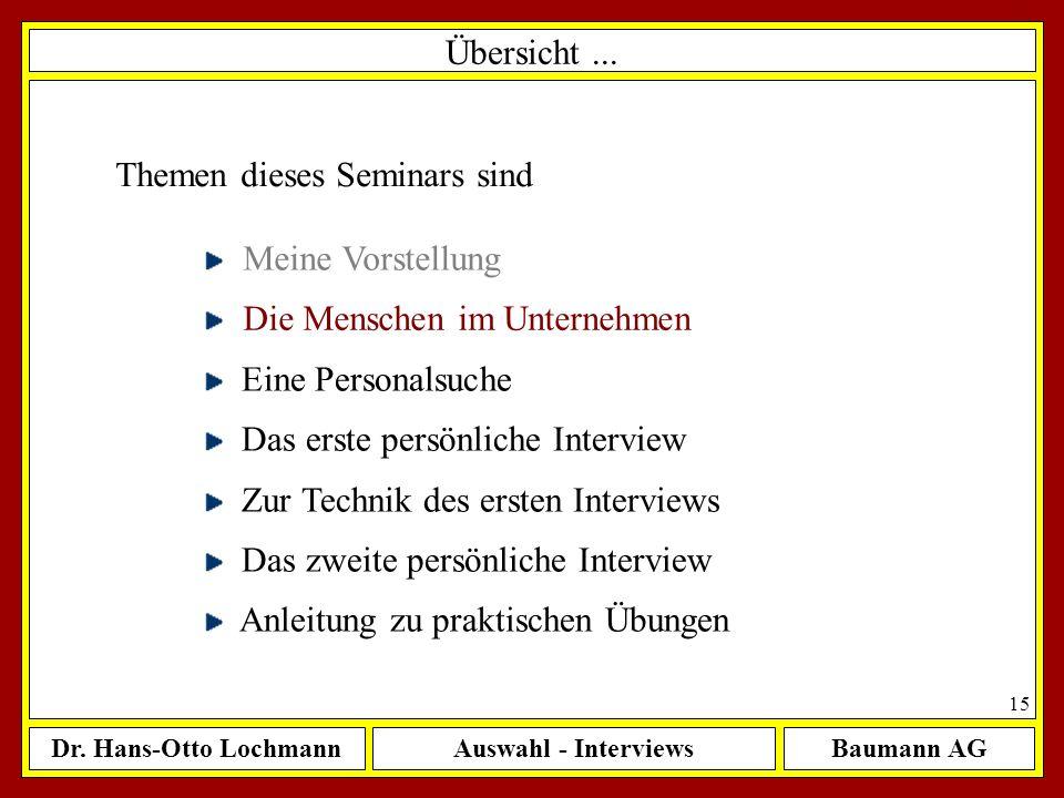 Dr. Hans-Otto LochmannAuswahl - InterviewsBaumann AG 15 Übersicht... Themen dieses Seminars sind Meine Vorstellung Die Menschen im Unternehmen Eine Pe