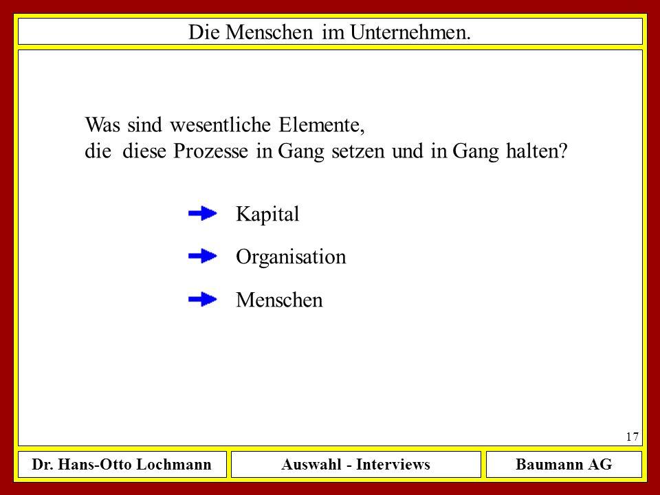 Dr. Hans-Otto LochmannAuswahl - InterviewsBaumann AG 17 Die Menschen im Unternehmen. Was sind wesentliche Elemente, die diese Prozesse in Gang setzen
