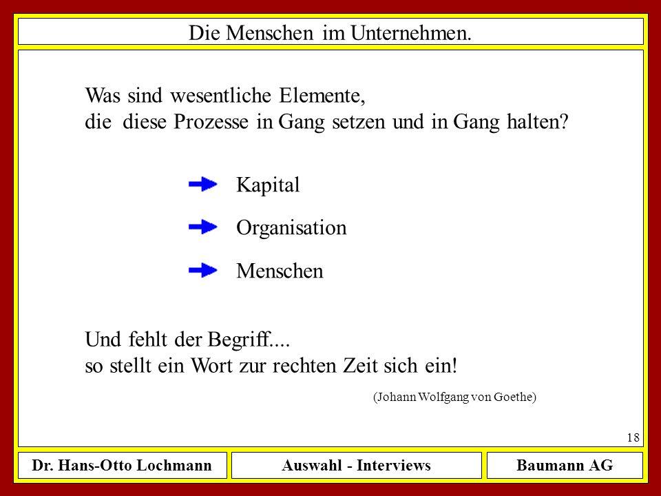 Dr. Hans-Otto LochmannAuswahl - InterviewsBaumann AG 18 Die Menschen im Unternehmen. Was sind wesentliche Elemente, die diese Prozesse in Gang setzen