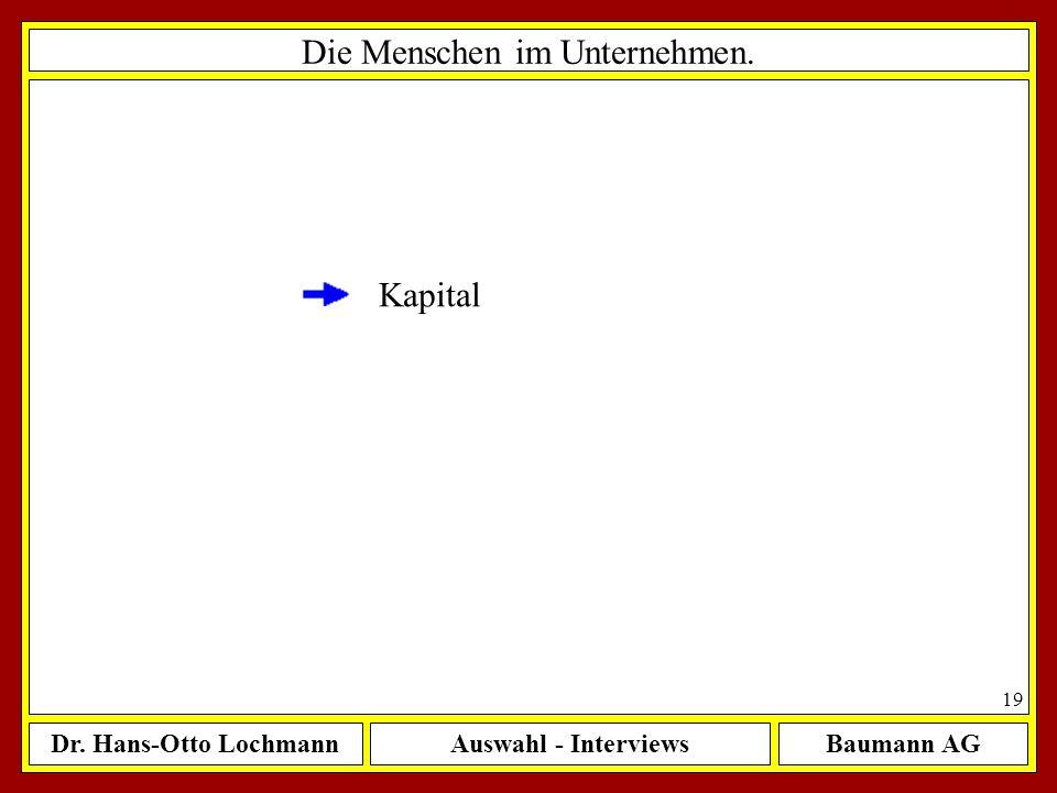 Dr. Hans-Otto LochmannAuswahl - InterviewsBaumann AG 19 Die Menschen im Unternehmen. Kapital