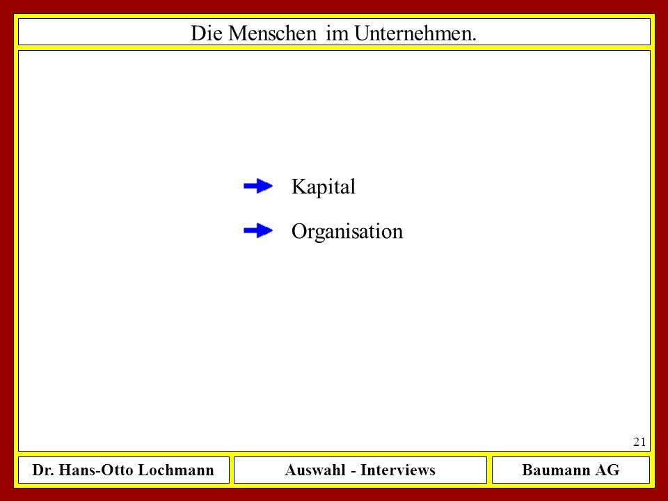 Dr. Hans-Otto LochmannAuswahl - InterviewsBaumann AG 21 Die Menschen im Unternehmen. Organisation Kapital