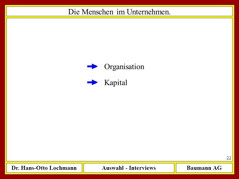 Dr. Hans-Otto LochmannAuswahl - InterviewsBaumann AG 22 Die Menschen im Unternehmen. Organisation Kapital