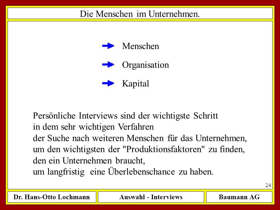 Dr. Hans-Otto LochmannAuswahl - InterviewsBaumann AG 24 Die Menschen im Unternehmen. Menschen Organisation Kapital Persönliche Interviews sind der wic