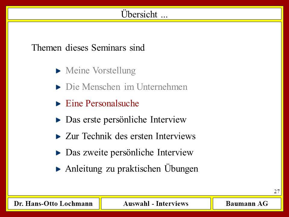 Dr. Hans-Otto LochmannAuswahl - InterviewsBaumann AG 27 Übersicht... Themen dieses Seminars sind Meine Vorstellung Die Menschen im Unternehmen Eine Pe