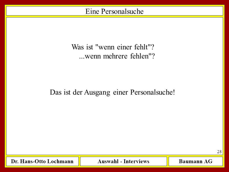 Dr. Hans-Otto LochmannAuswahl - InterviewsBaumann AG 28 Eine Personalsuche Was ist