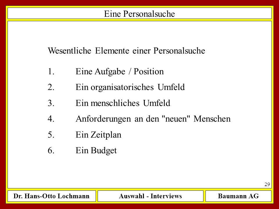 Dr. Hans-Otto LochmannAuswahl - InterviewsBaumann AG 29 Eine Personalsuche Wesentliche Elemente einer Personalsuche 1.Eine Aufgabe / Position 2.Ein or