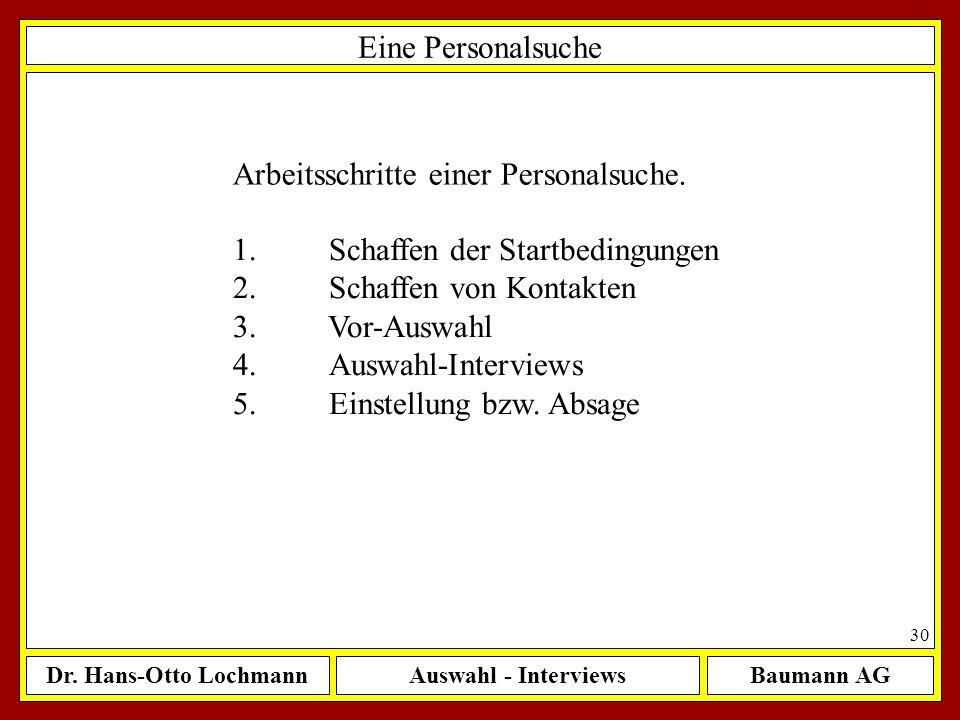 Dr. Hans-Otto LochmannAuswahl - InterviewsBaumann AG 30 Eine Personalsuche Arbeitsschritte einer Personalsuche. 1.Schaffen der Startbedingungen 2.Scha