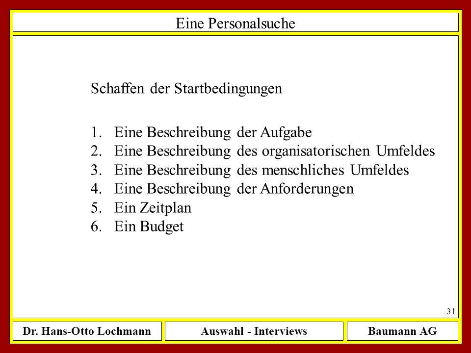Dr. Hans-Otto LochmannAuswahl - InterviewsBaumann AG 31 Eine Personalsuche Schaffen der Startbedingungen 1.Eine Beschreibung der Aufgabe 2.Eine Beschr