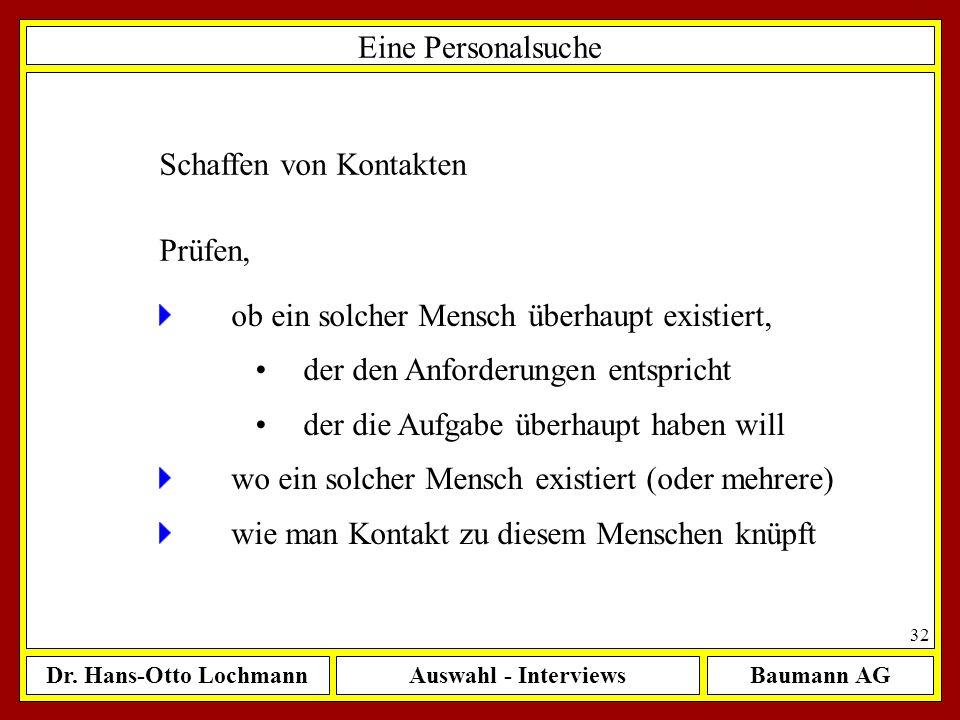 Dr. Hans-Otto LochmannAuswahl - InterviewsBaumann AG 32 Eine Personalsuche Schaffen von Kontakten ob ein solcher Mensch überhaupt existiert, der den A