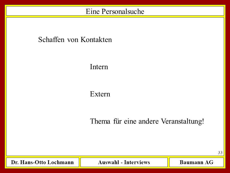 Dr. Hans-Otto LochmannAuswahl - InterviewsBaumann AG 33 Eine Personalsuche Schaffen von Kontakten Intern Extern Thema für eine andere Veranstaltung!