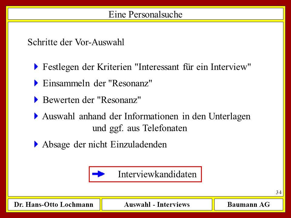 Dr. Hans-Otto LochmannAuswahl - InterviewsBaumann AG 34 Eine Personalsuche Schritte der Vor-Auswahl Festlegen der Kriterien