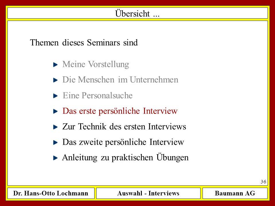 Dr. Hans-Otto LochmannAuswahl - InterviewsBaumann AG 36 Übersicht... Themen dieses Seminars sind Meine Vorstellung Die Menschen im Unternehmen Eine Pe