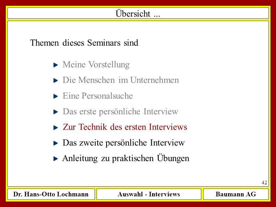 Dr. Hans-Otto LochmannAuswahl - InterviewsBaumann AG 42 Übersicht... Themen dieses Seminars sind Meine Vorstellung Die Menschen im Unternehmen Eine Pe