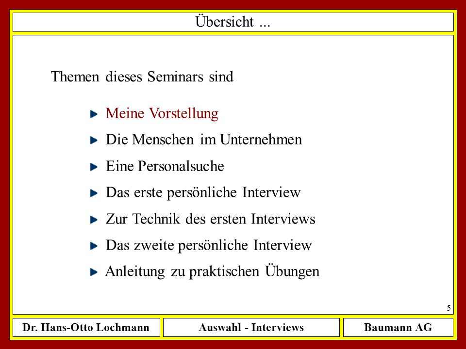 Dr. Hans-Otto LochmannAuswahl - InterviewsBaumann AG 5 Übersicht... Meine Vorstellung Die Menschen im Unternehmen Eine Personalsuche Das erste persönl