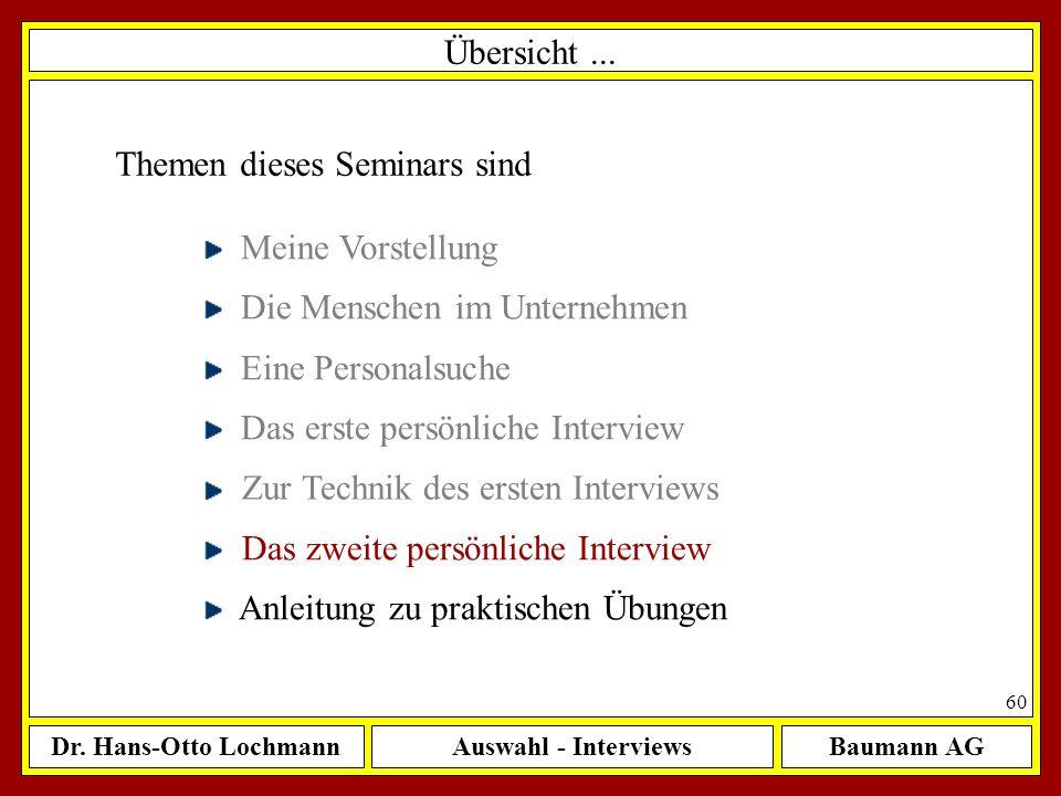 Dr. Hans-Otto LochmannAuswahl - InterviewsBaumann AG 60 Übersicht... Themen dieses Seminars sind Meine Vorstellung Die Menschen im Unternehmen Eine Pe