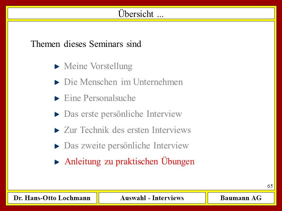 Dr. Hans-Otto LochmannAuswahl - InterviewsBaumann AG 65 Übersicht... Themen dieses Seminars sind Meine Vorstellung Die Menschen im Unternehmen Eine Pe
