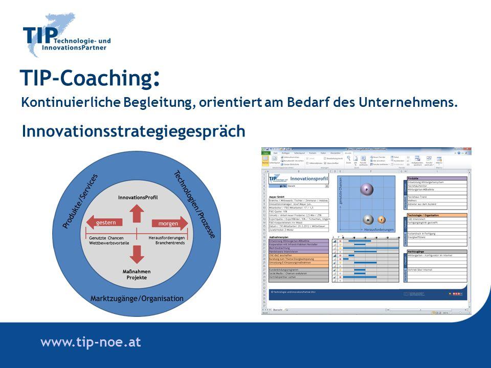 www.tip-noe.at TIP-Coaching : Kontinuierliche Begleitung, orientiert am Bedarf des Unternehmens.
