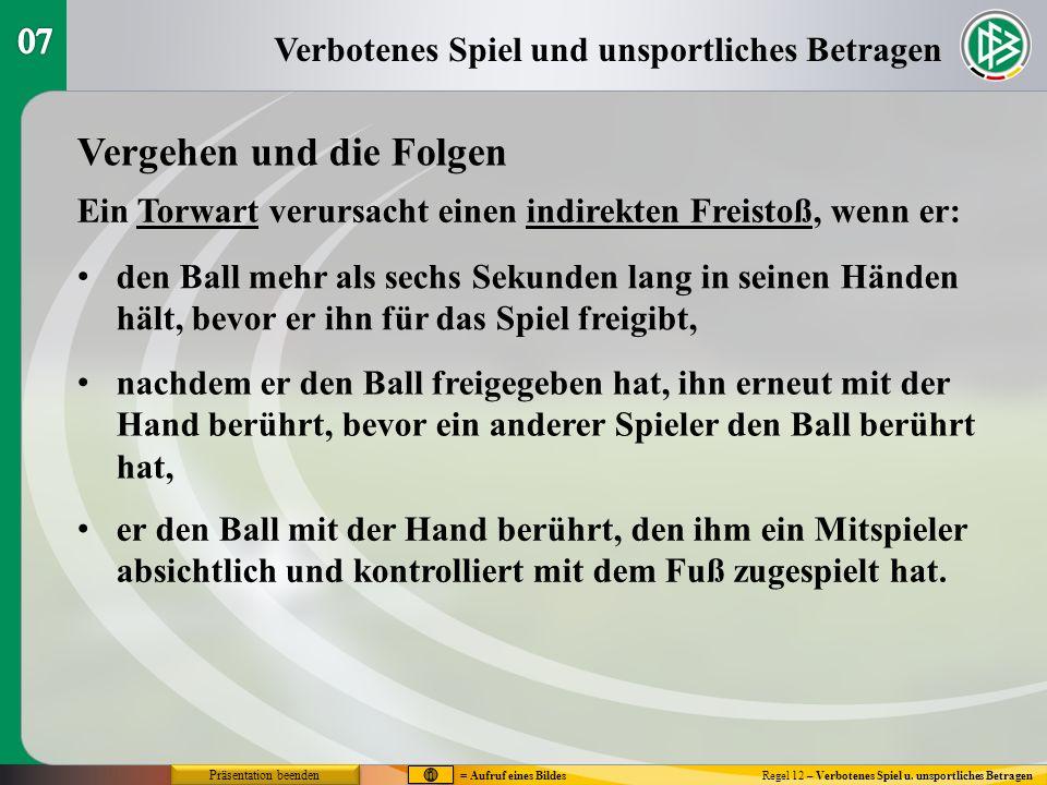 Verbotenes Spiel und unsportliches Betragen Regel 12 – Verbotenes Spiel u.
